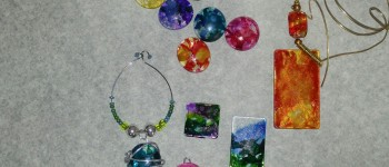 alcohol ink flower pendants, abstract art, and wearable cabachons