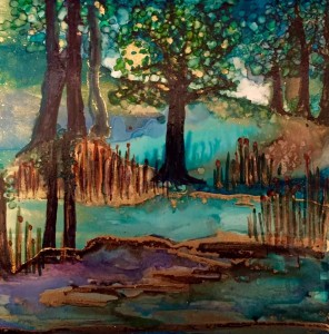 Erin B Joslyn Lake and Forest using alcohol inks and snowcap