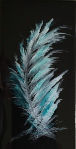 Paula-K-Gilbert-Feather snow-cap-and-aqua-on-black-tile